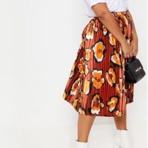 Rust Leopard Print Pleated Midi Skirt
